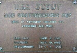 USS Scout MCM 8 plaque